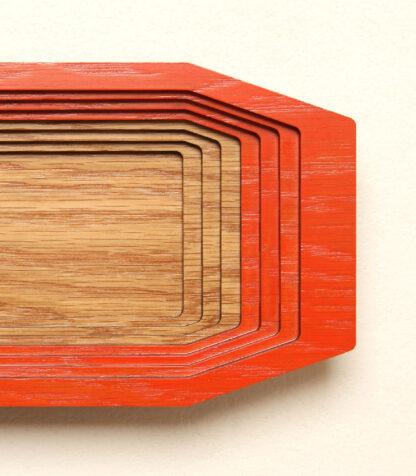 Petite boite en bois de chêne Gradiante, à degrés, vue de dessus.