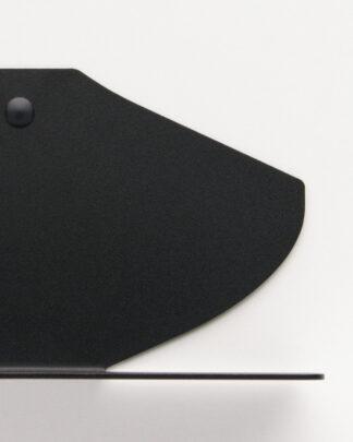 Étagère mural noire en métal, dans un fini texturé mat, au design aux courbes fines.